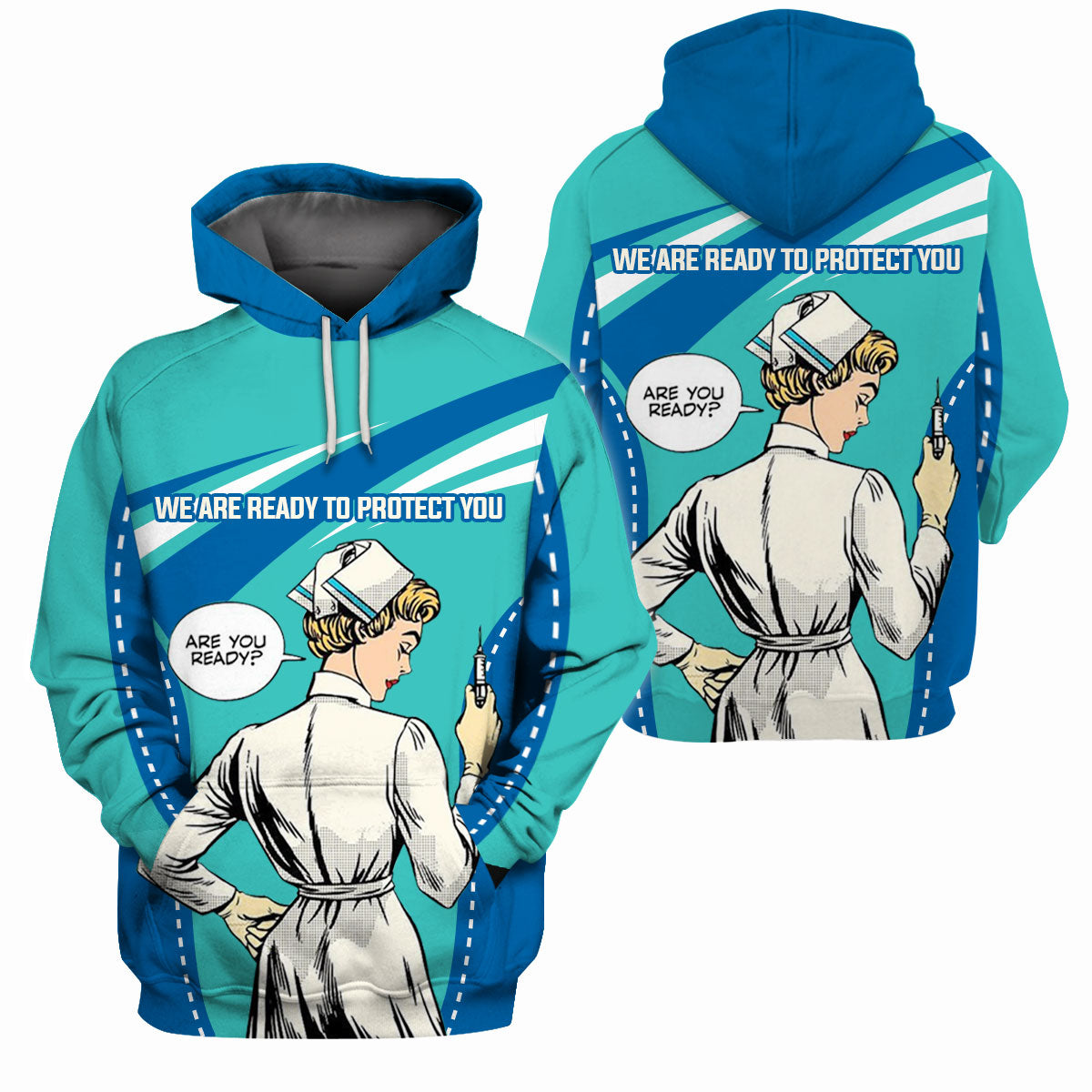 Nurse Clothing - All Over 3D Printed - We Are Ready To Protect You - GnWarriors Clothing