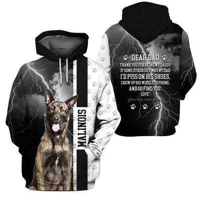 Limited Edition 3d apparel - Customizable - Dog Dad Malinois