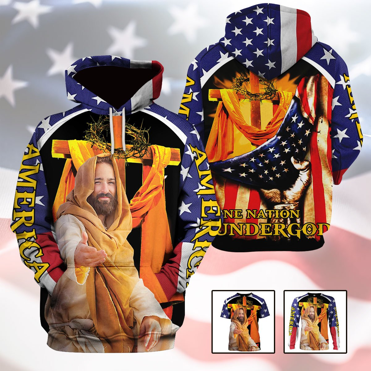 3d America Apparel - One Nation Under God - 4zOutfitters Merchandise