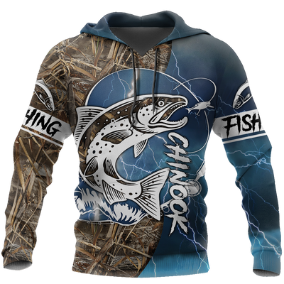 Chinook Fishing Salmon camo all over printed shirts for men and women blue color TR040101