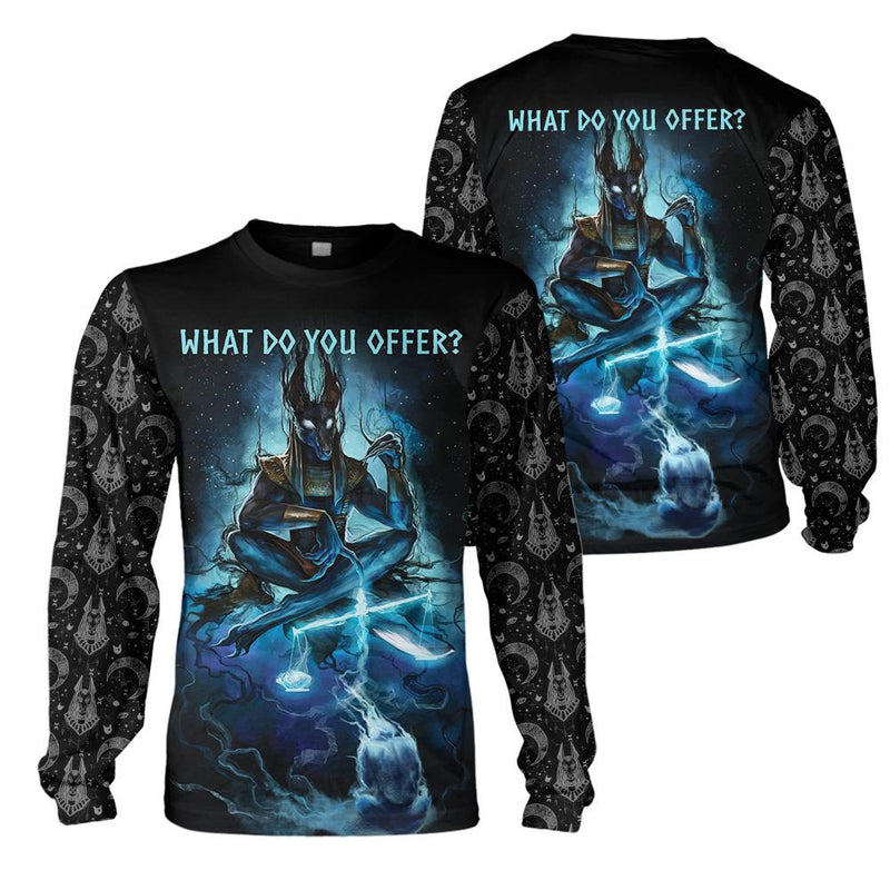 3D Ancient Egypt Apparel - Anubis What Do You Offer? - 4zOutfitters Merchandise