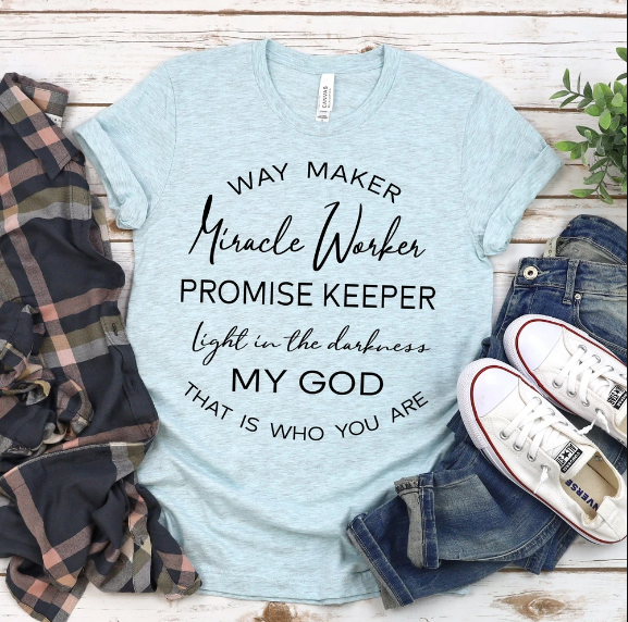 Christian 2D Top Trending Clothing - Way Maker Miracle Worker - GnWarriors Clothing