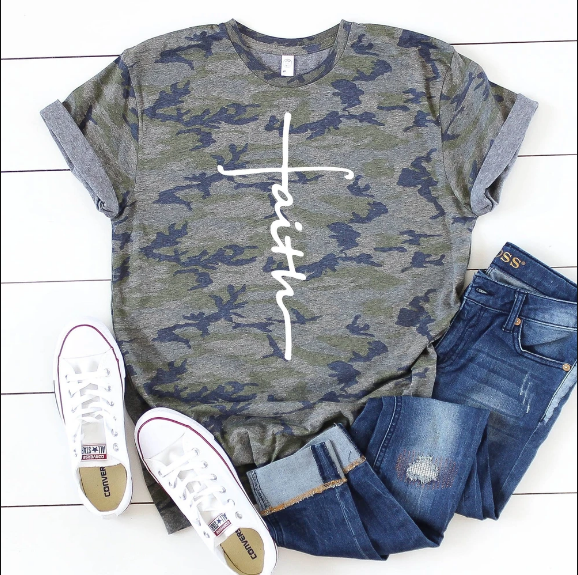 Christian 2D Top Trending Clothing - Faith Cross Camo - GnWarriors Clothing