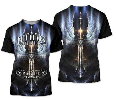 3D Christian Hoodie, Polo, T-shirt- God loves each one of us - GnWarriors Clothing