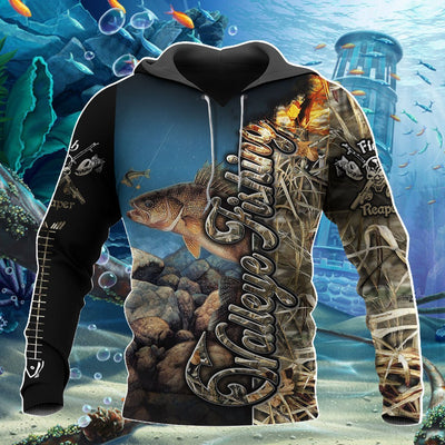 Walleye Fishing Camo all over printed shirts for men and women HC9303