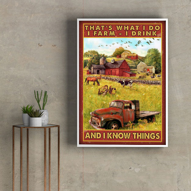 3D Canvas - Farmer - Red tractor