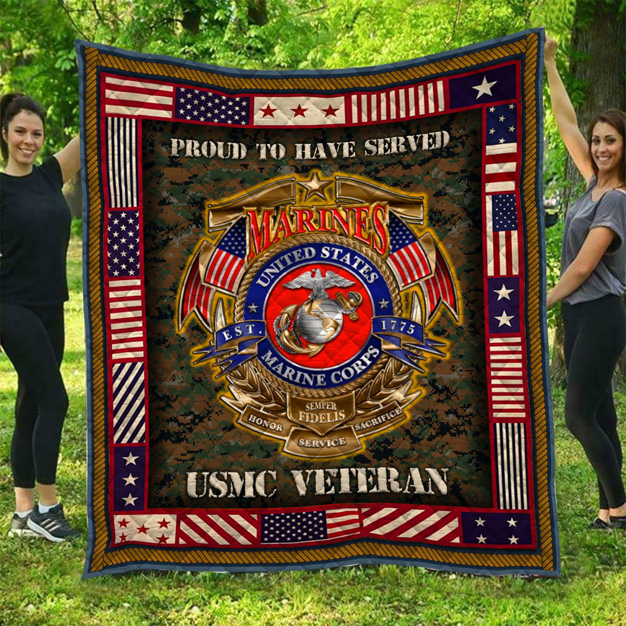 USMC Veteran Quilt QL-HG04 - GnWarriors Clothing