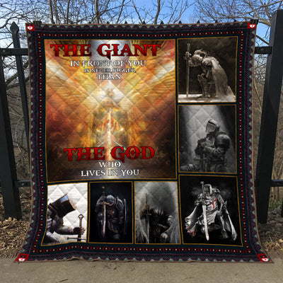 Trending Christian Quilt Collection - The Giant In Front Of You And The God Who Lives In You Quilt ql-hg101 - GnWarriors Clothing