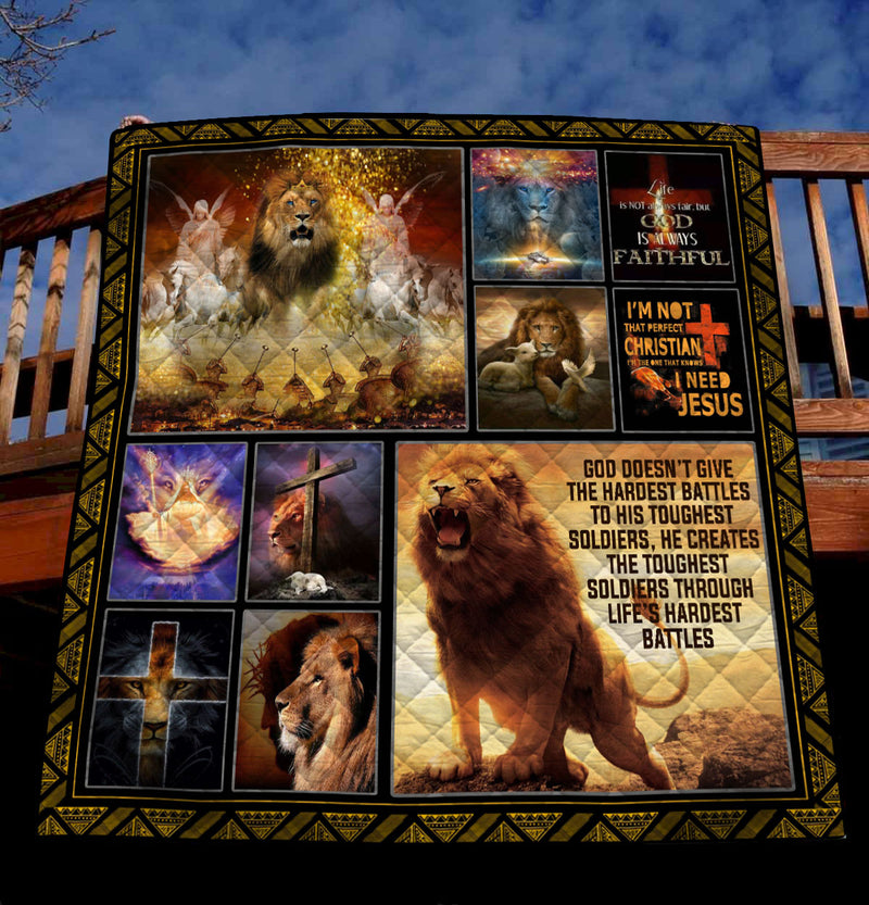 Trending Christian Quilt Collection - Lion of Judah  ql-hg107 - GnWarriors Clothing