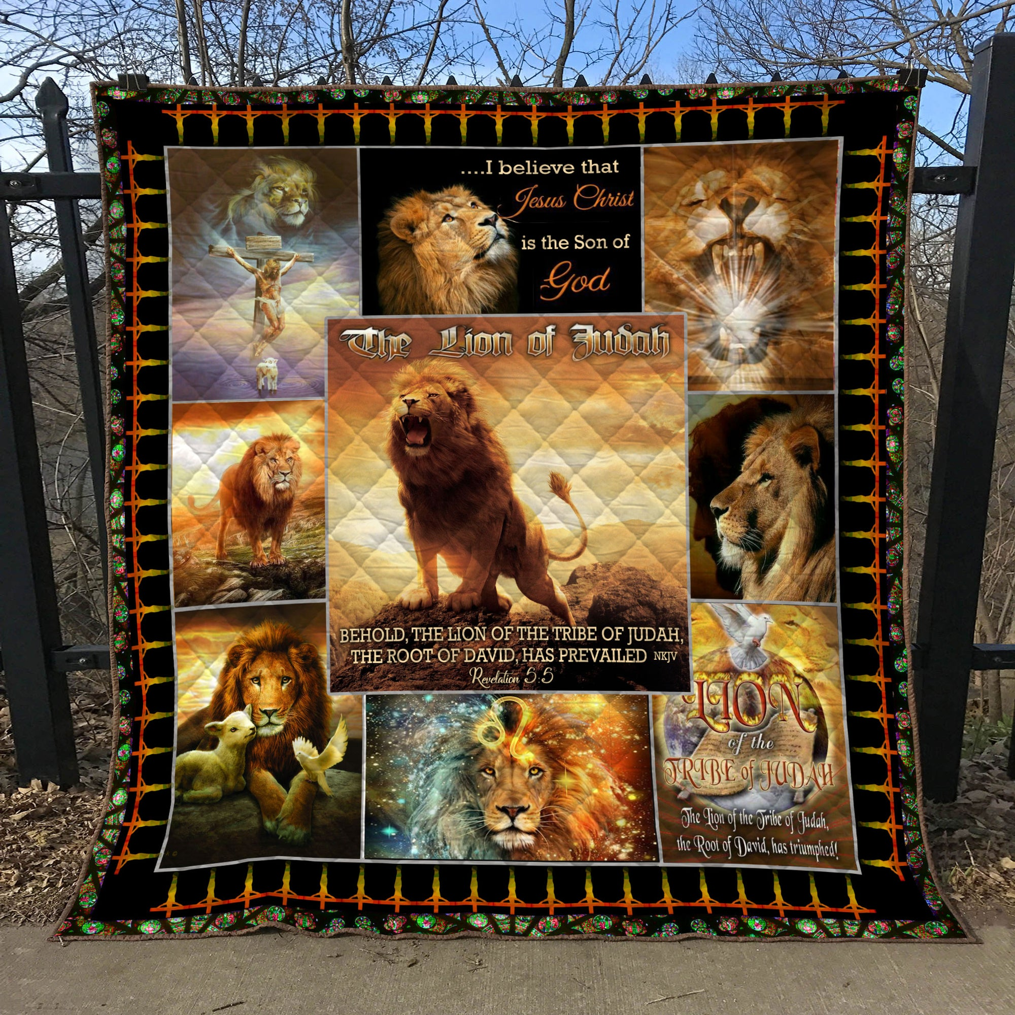 Trending Christian Quilt Collection - Lion of Judah  ql-hg108 - GnWarriors Clothing