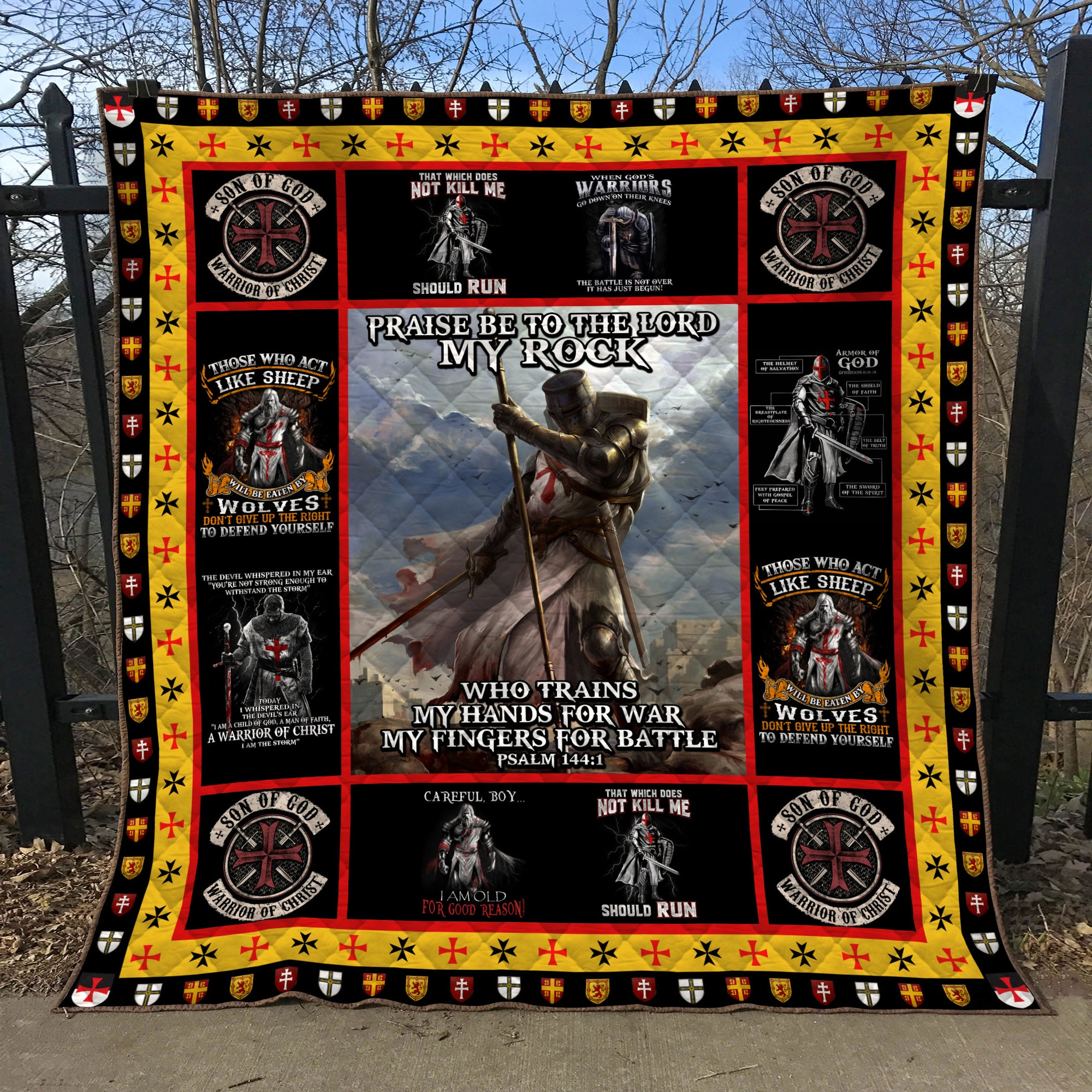 Trending Christian Quilt Collection - Prasing to the lord my rock ql-hg109 - GnWarriors Clothing