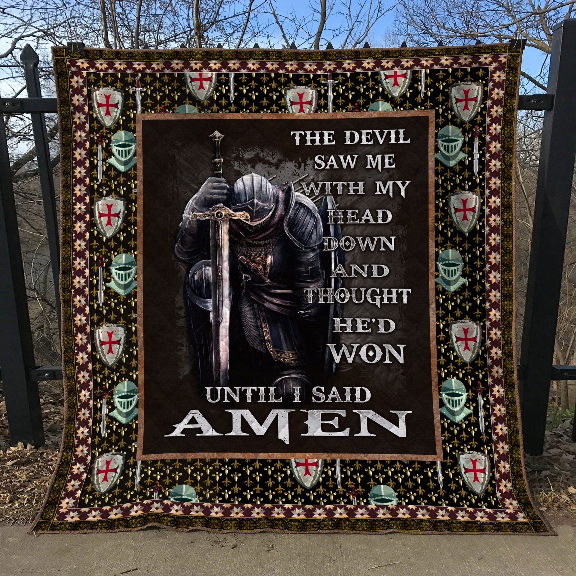 Trending Christian Quilt Collection - The devil saw me with my head down ql-hg111 - GnWarriors Clothing
