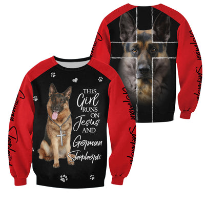 The Girl Runs On Jesus And German Shepherd LIMITED EDITION - GnWarriors Clothing