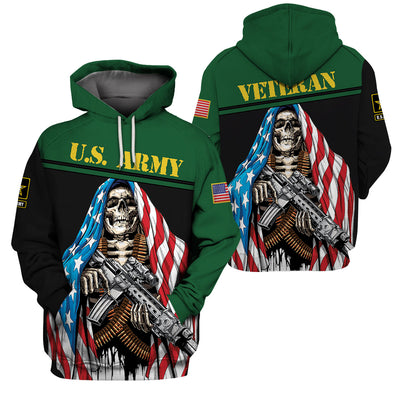 U.S Army Apparel - All Over 3D Printed Clothing - Skull With Flag - GnWarriors Clothing