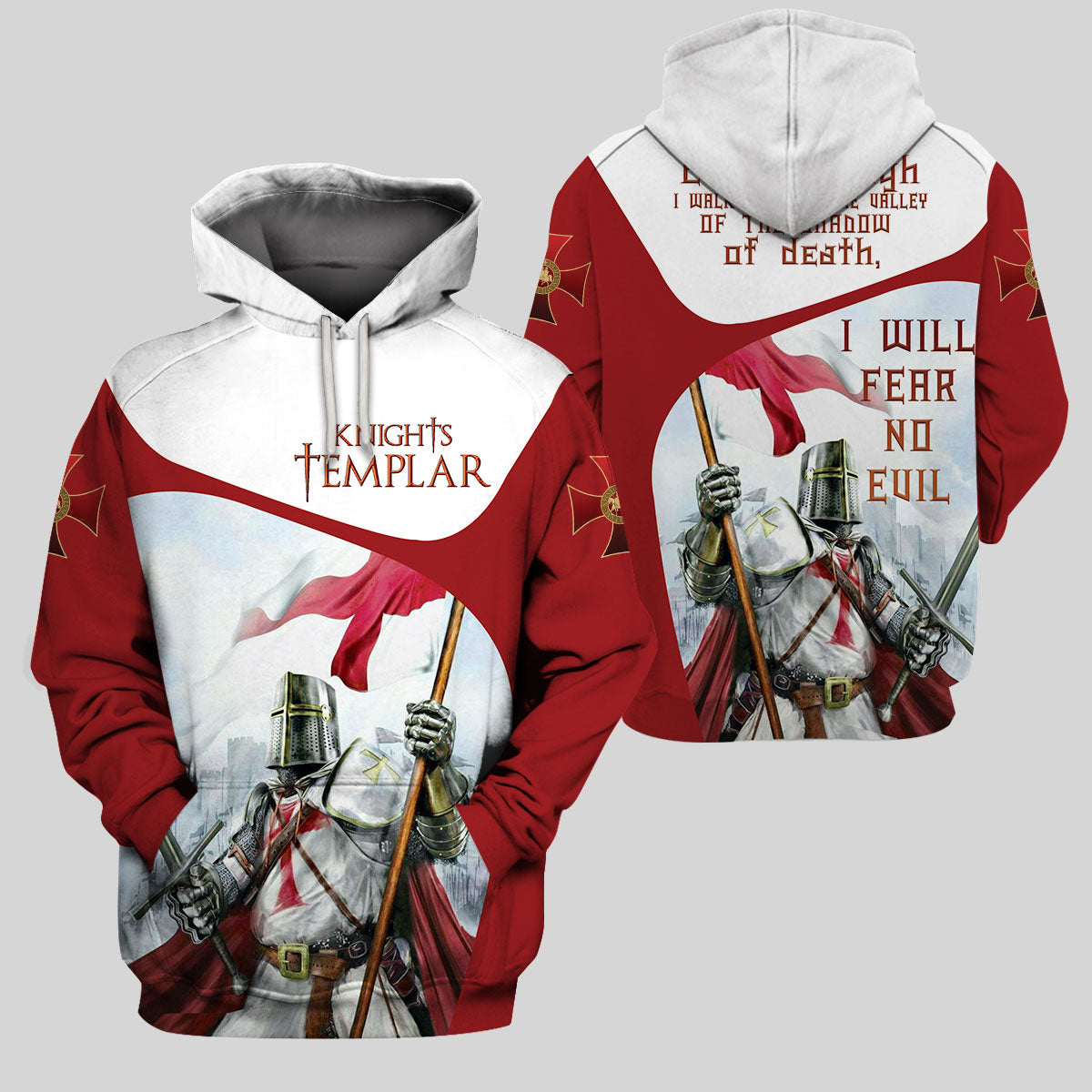3D Knight Hoodie - Knight Templar Apparel - I Will Fear No Evil - GnWarriors Clothing