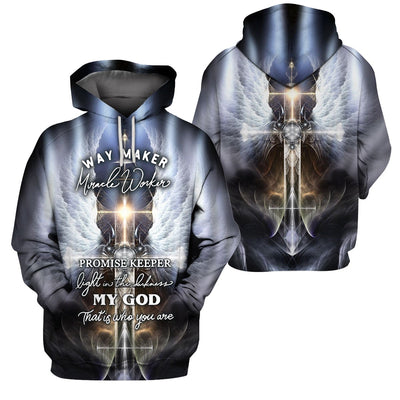 3D Christian Hoodie - Way Maker Miracle Worker - GnWarriors Clothing