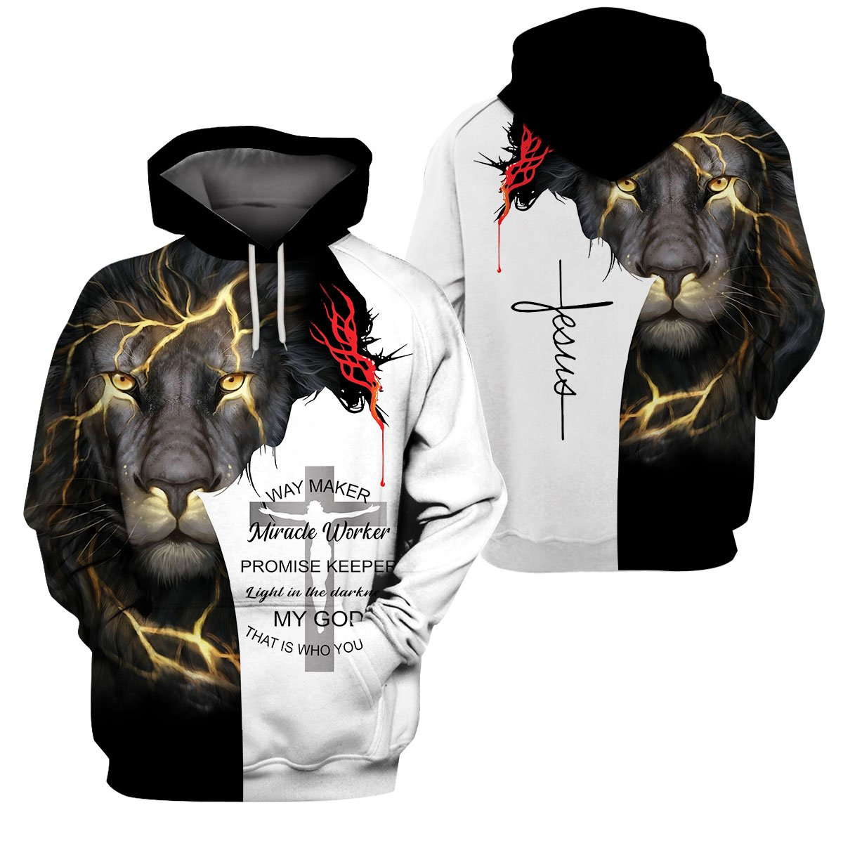 3D Christian Hoodie - Way Maker, Miracle Worker, Promise Keeper - GnWarriors Clothing
