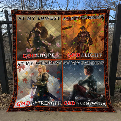 Trending Christian Quilt Collection - At My Weakest God Is My Strength Quilt ql-hg42 - GnWarriors Clothing