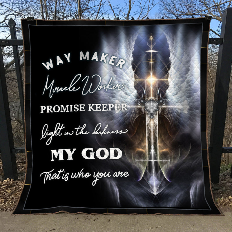 Christian 3D Printed Quilt - Way Maker Miracle Worker Promise Keeper - GnWarriors Clothing