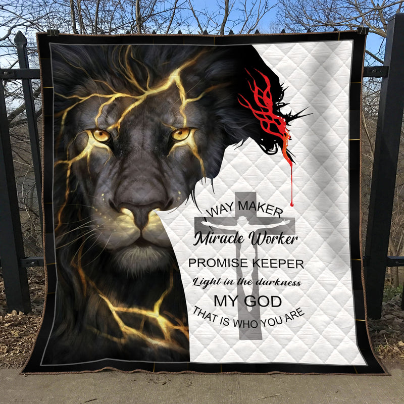 Christian 3D Printed Quilt - Way Maker Miracle Worker Promise Keeper - Lion - GnWarriors Clothing