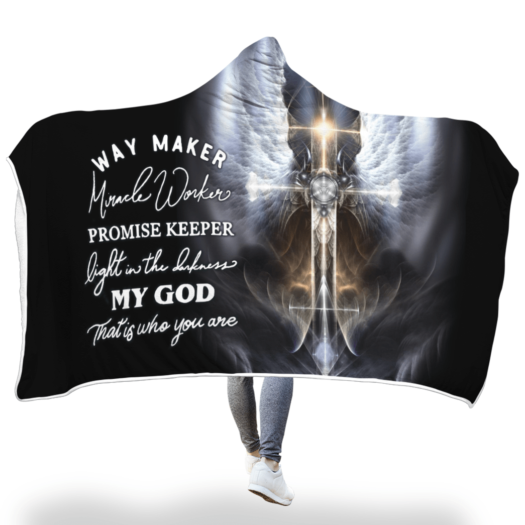 3D Christian Hooded Cloak - Way Maker Miracle Worker Promise Keeper - GnWarriors Clothing
