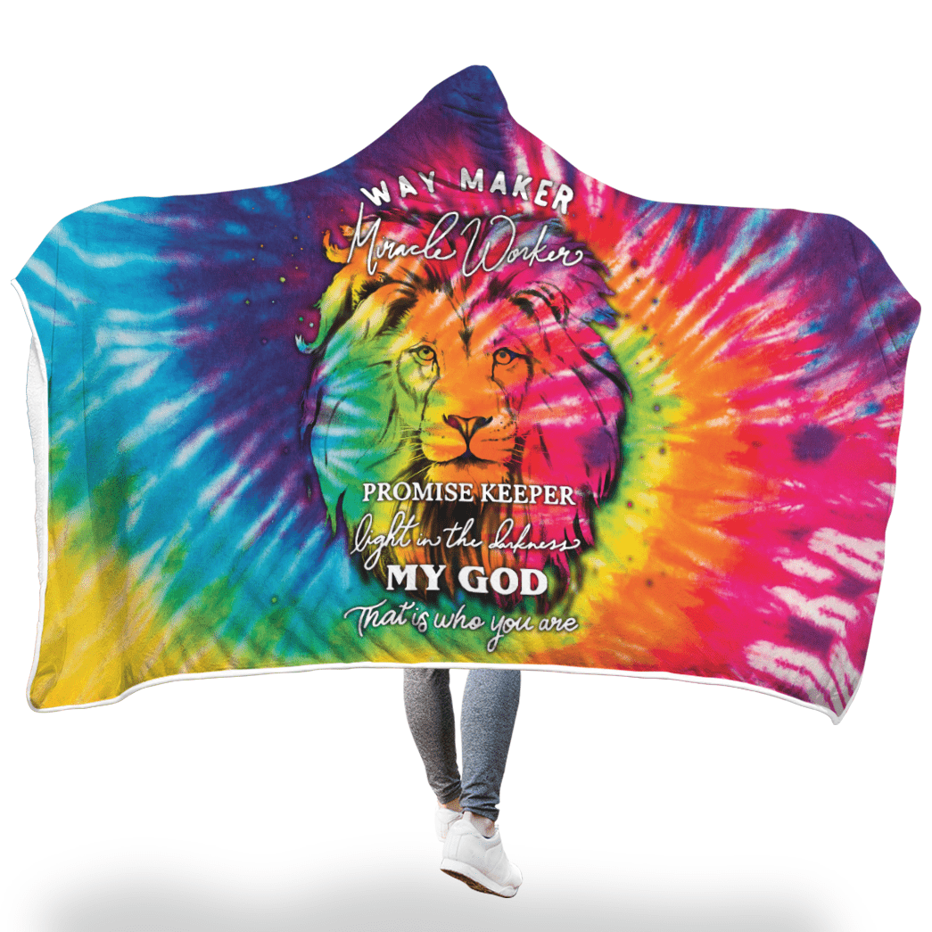 3D Christian Hooded Cloak - Way Maker Miracle Worker - Tie Dye - GnWarriors Clothing