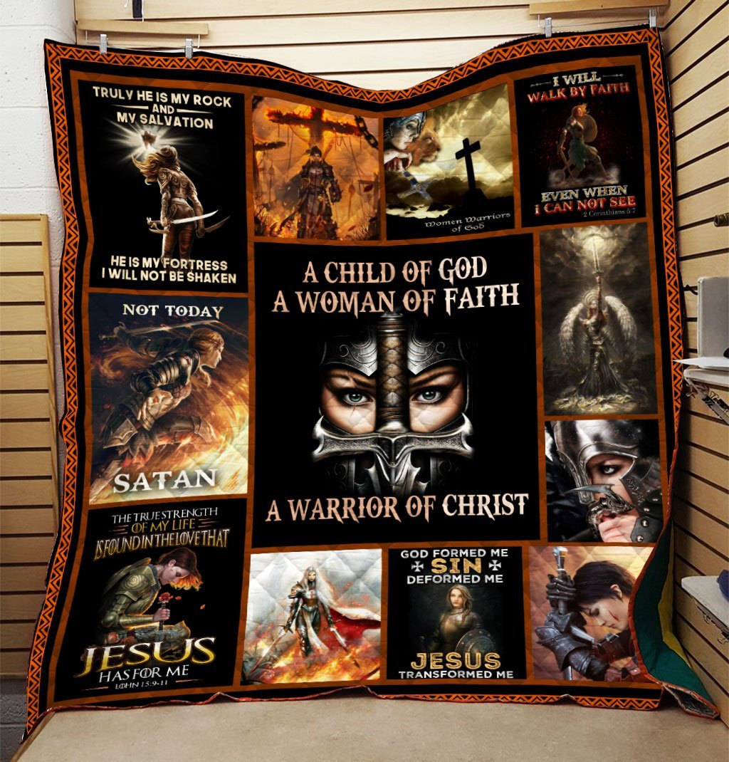Trending Christian Quilt Collection - A Child Of God A Woman Of Faith Quilt ql-hg47 - GnWarriors Clothing