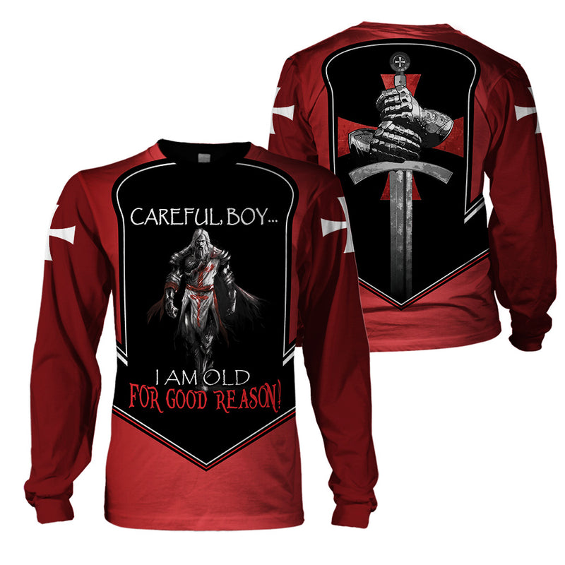 Best selling 3d apparel Knights templar - Careful boy Im old For a good reason