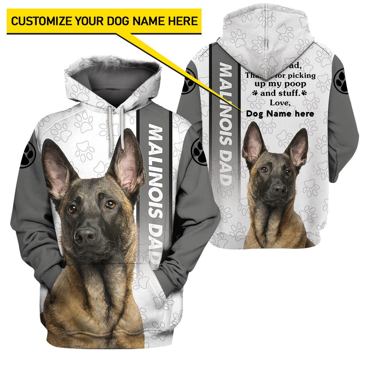 Best selling 3d apparel - Customizable Design - Malinois Dad