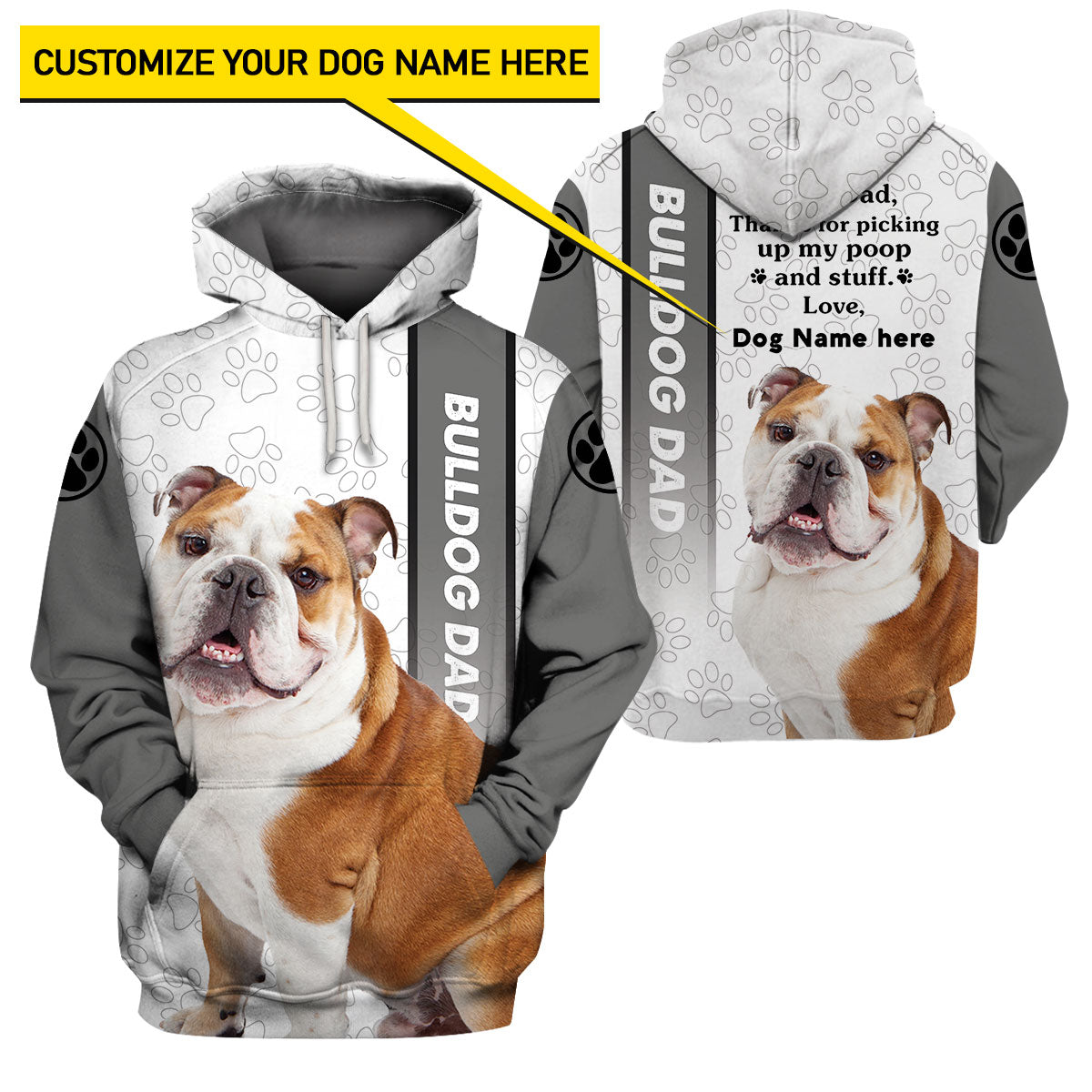 Best selling 3d apparel Customizable Design - Bulldog dad