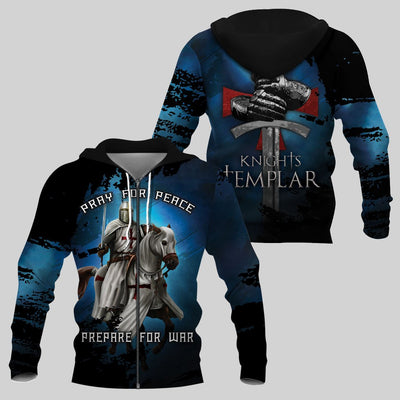 Best selling 3d apparel - Knights Templar - Pray for peace - Prepare for war