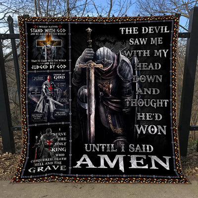 Trending Christian Quilt Collection - The Devil Saw Me With My Head Down Quilt ql-hg63 - GnWarriors Clothing