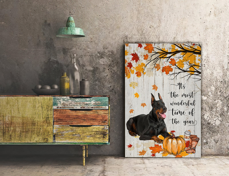 3D Canvas - It's The Most Wonderful Time Of The Year - Doberman