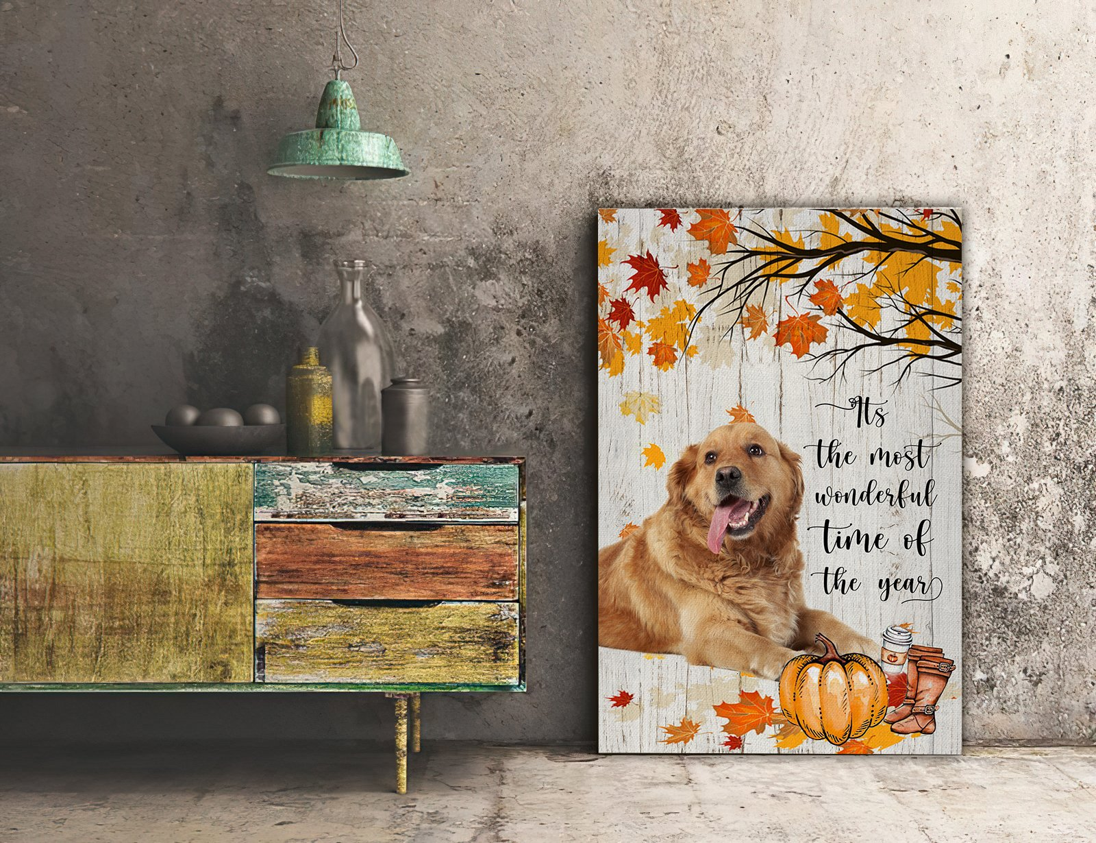 3D Canvas - It's The Most Wonderful Time Of The Year- Golden Retriever