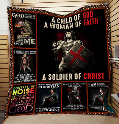 Trending Christian Quilt Collection - Woman Of Faith Soldier Of Christ Quilt ql-hg80 - GnWarriors Clothing