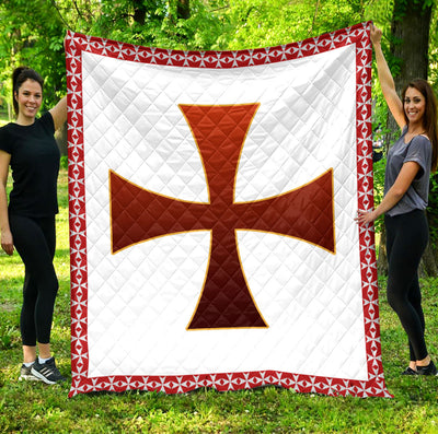 Trending Christian Quilt Collection - Knights Templar Logo Quilt ql-hg90 - GnWarriors Clothing