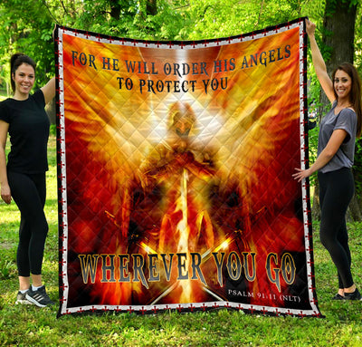 Trending Christian Quilt Collection - His Angel Protect You Wherever You Go Quilt ql-hg99 - GnWarriors Clothing