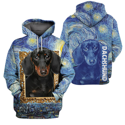 Best selling 3d apparel Starry night Dachshund
