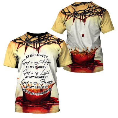 3D Print Full Christian Clothing - At My Lowest God Is My Hope - GnWarriors Clothing
