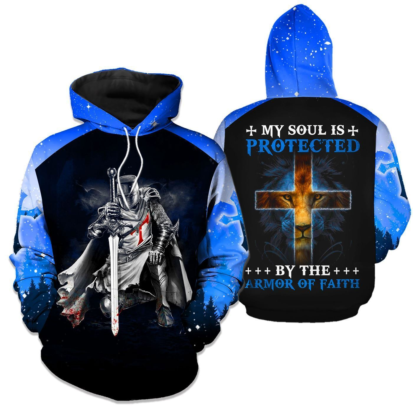 3D Christian Apparel - My Soul Is Protected By The Armor of Faith - GnWarriors Clothing