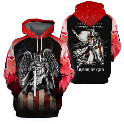 3D Knight Hoodie - Knight Templar Warrior Apparel - I Will Stand Firm In The Whole - GnWarriors Clothing