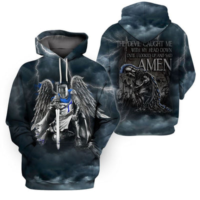 3D Knight Hoodie - Knight Templar Warrior Apparel - Do Not Fall Before The Devil - GnWarriors Clothing