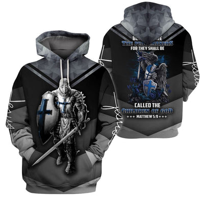 3D Knight Hoodie - Knight Templar Warrior Apparel - Blessed Are The Peacemakers - GnWarriors Clothing
