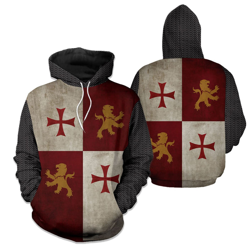 3D Knight Templar Hoodie - Knight Warrior Apparel - English Crusader - GnWarriors Clothing