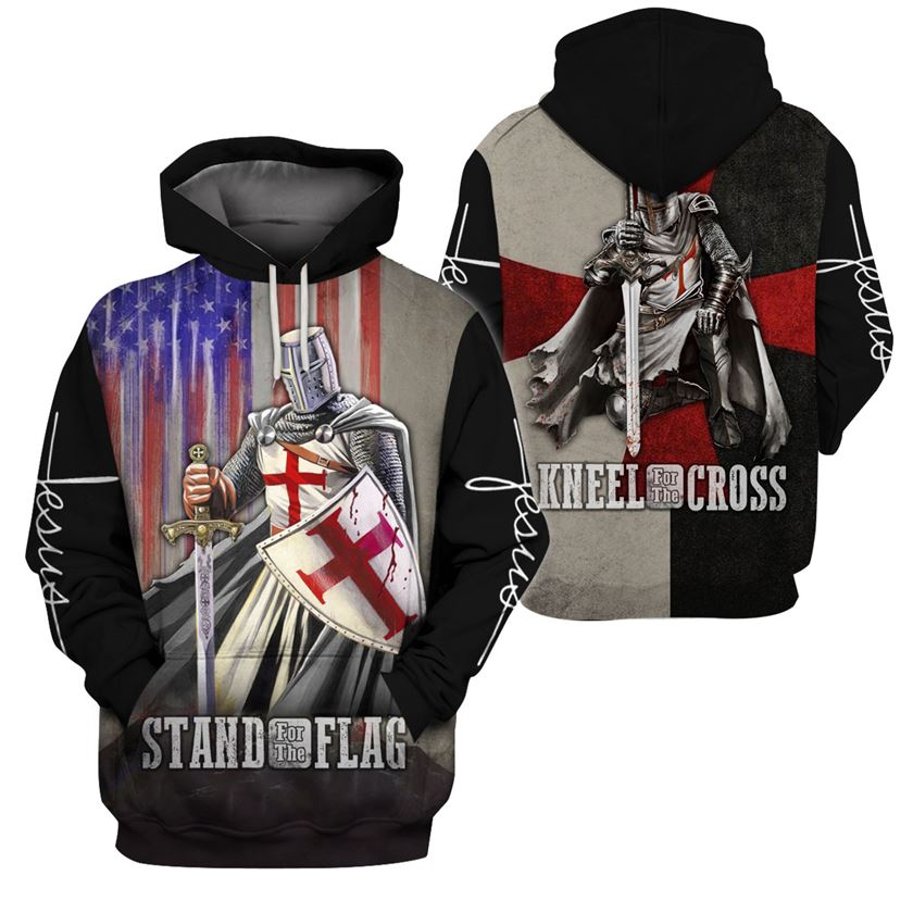 3D Knight Hoodie - Knight Templar Apparel - Kneel For The Cross - GnWarriors Clothing