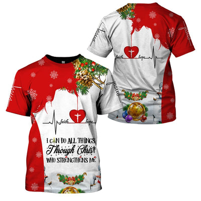 Christian Clothing 3D Printed I can do all things through Christ - Christmas Limited Edition - GnWarriors Clothing