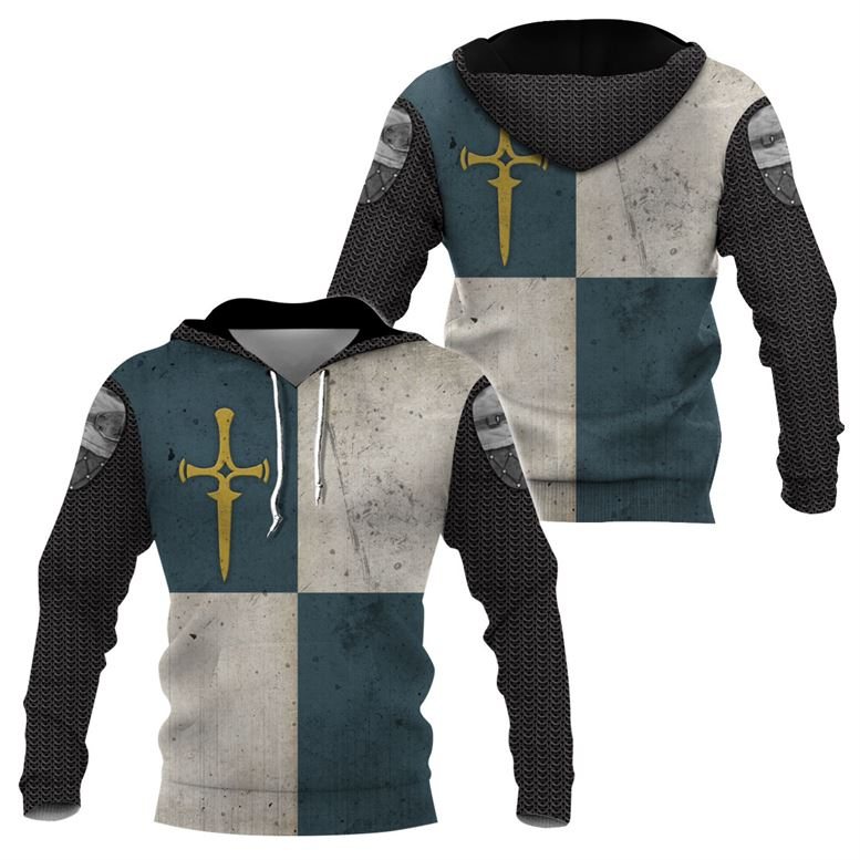 3D Knight Hoodie - Knight Templar Apparel - Knight Of Agatha - GnWarriors Clothing