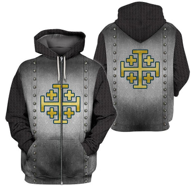3D Knight Hoodie - Knight Templar Apparel - Knight Of Jerusalem - GnWarriors Clothing