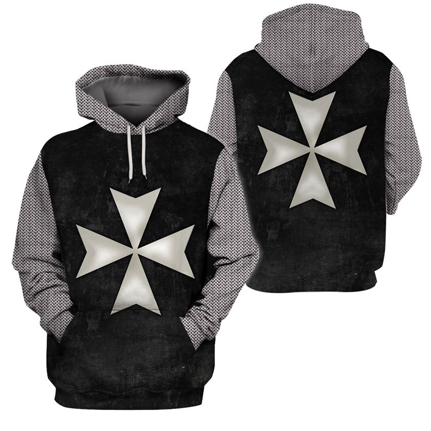 3D Knight Hoodie - Knight Templar Apparel - Knight Hospitaller - GnWarriors Clothing