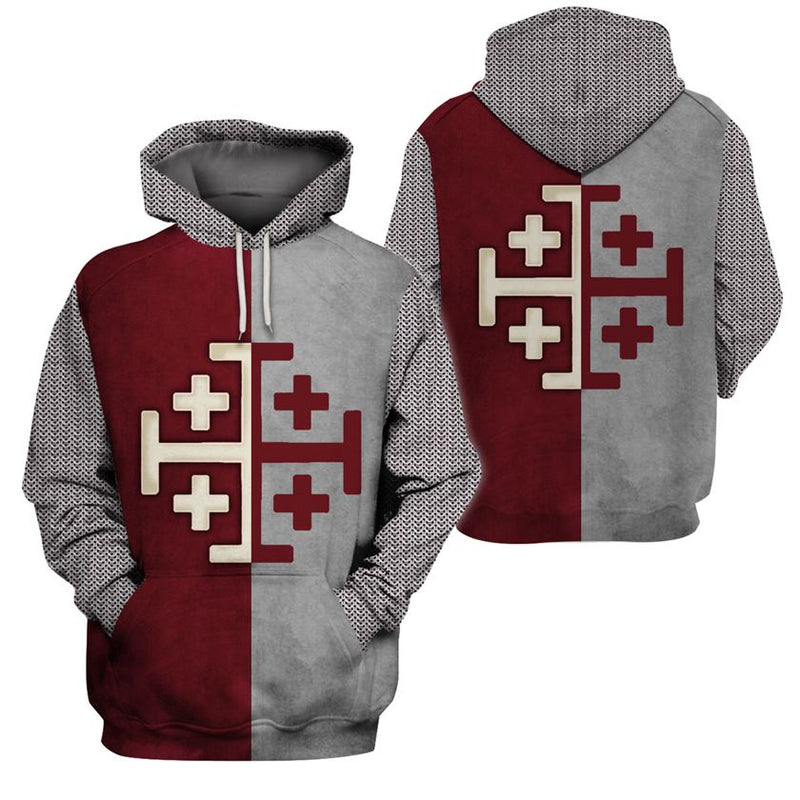 3D Knight Hoodie - Knight Templar Apparel - Knight Of Tripoli - GnWarriors Clothing